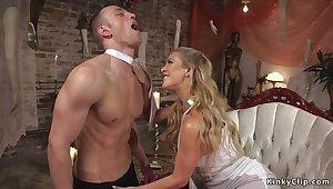 Blondie shoves metal bar in mans pee hole