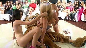 Three girls bonking dancing bear