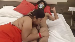 Mature wife giving blowjob to husband in hotel