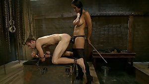Mistress and her male slave far fuck