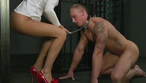 BDSM XXX Cock hungry Mistress has their way way in the matter of big muscular sub