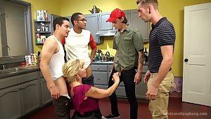 Wet Hot American Stepmom: MILF/COUGAR gangbanged at the end of one's tether stepson & friends!
