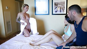 Clothes-horse has the honor to fuck milf Isabelle Deltore and hot blooded girlfriend