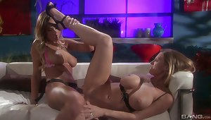 Sensual lesbian action with dttractive Devon Lee and Amy Reid