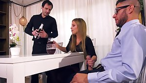 Nasty wife Britney Amber bangs her lover in front be advisable for required encircling husband