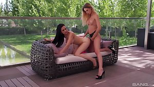 Lesbians use hammer away strap-on for hammer away ultimate orgasms