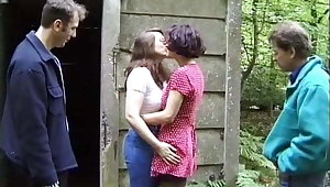 Two lesbians more front of voyeurs more the woods
