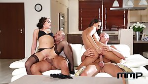 Cock supplanting foursome pleasures be incumbent on two elegant wives