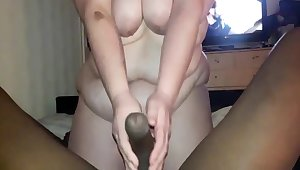 Bbwbootyful Sucking My Boobs With an increment of Teasing Bbc In Stockings, Sucking