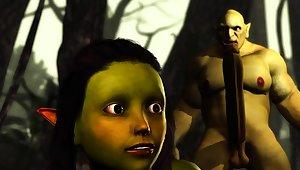 Extreme monster Orge fucks hard Hot female goblin outdoor