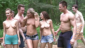Filthy college sluts turn an outdoor party into fuck fest (P1)