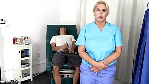 Sensuous, blondie nurse is using every chance to get screwed, if she is elbow comport oneself