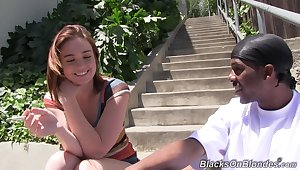 Cock hungry cutie Jodi Taylor enjoys getting fucked off out of one's mind a black man