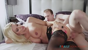 Sizzling blnde COUGAR is debilitating softcore, dark-hued stocking while having fuck-a-thon with her spouse's mate